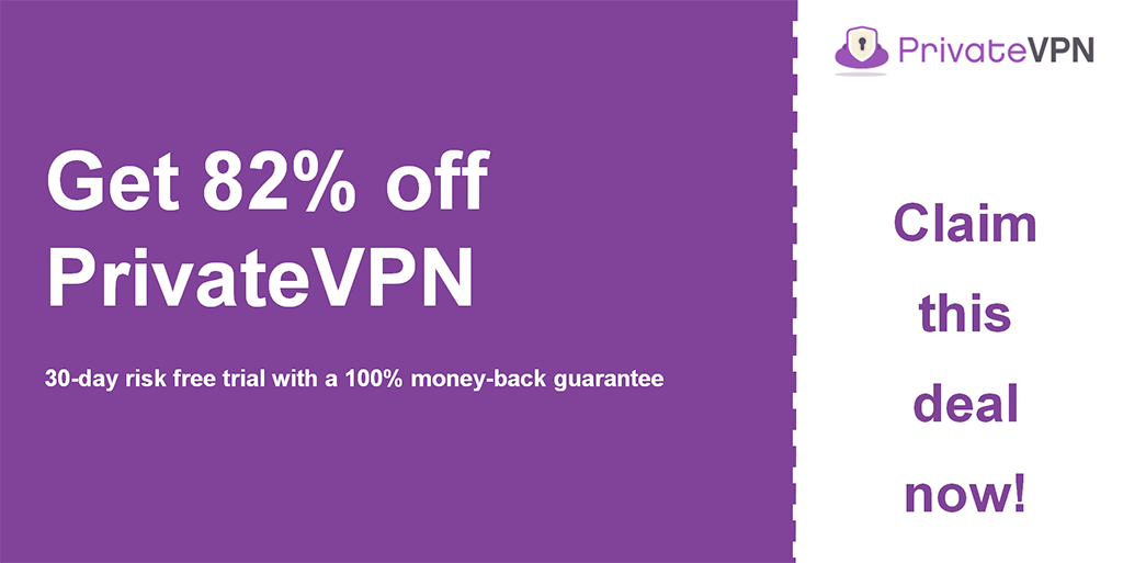 graphic of privatevpn main coupon banner showing 82% off