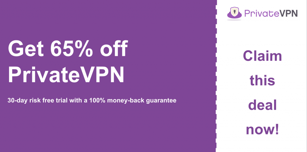 graphic of privatevpn main coupon banner showing 65% off
