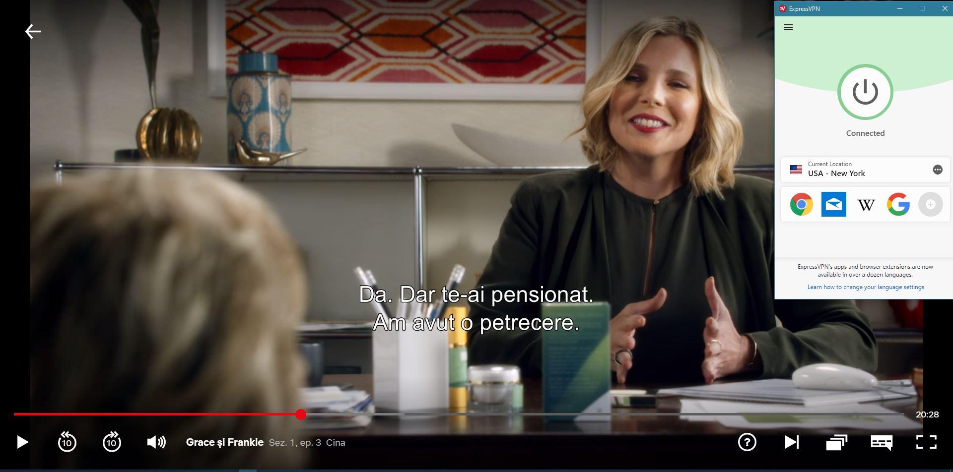 """captură de ecran de """"Grace And Frankie"""" care se joacă pe Netflix cu ExpressVPN"""