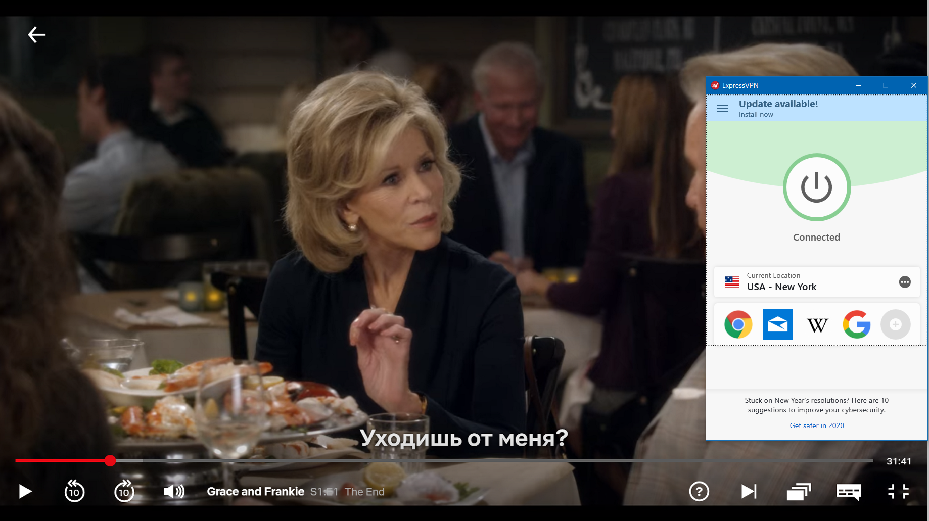screenshot of Grace and Frankie on Netflix with ExperssVPN