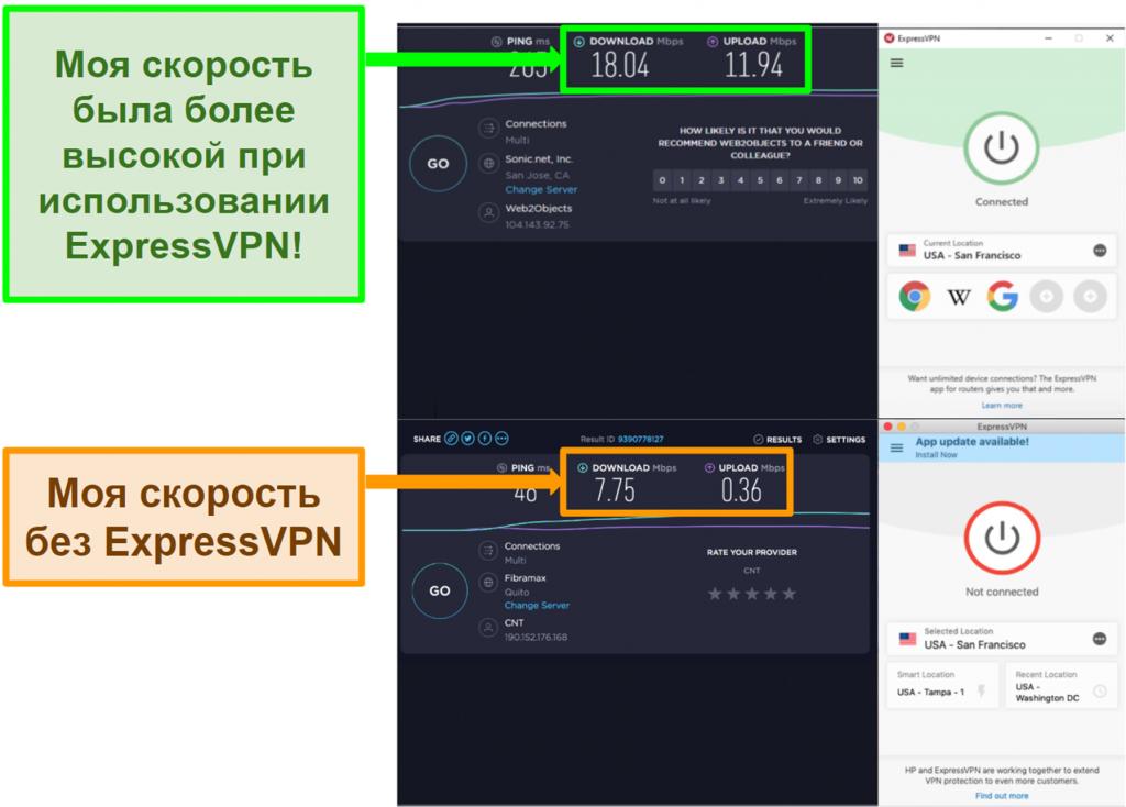 ExpressVPN улучшил мою скорость при подключении к американскому серверу