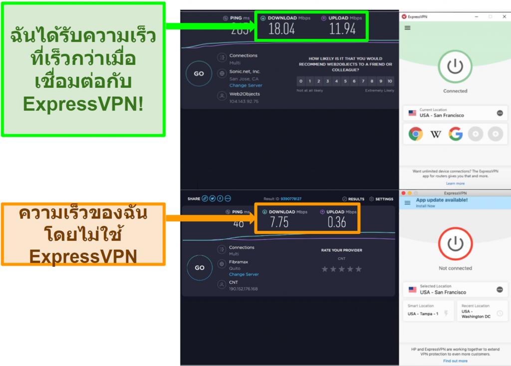 ExpressVPN ปรับปรุงความเร็วของฉันเมื่อเชื่อมต่อกับเซิร์ฟเวอร์ของสหรัฐอเมริกา