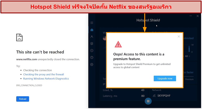 สกรีนช็อตแสดง HotspotShield บล็อก Netflix โดยเจตนา