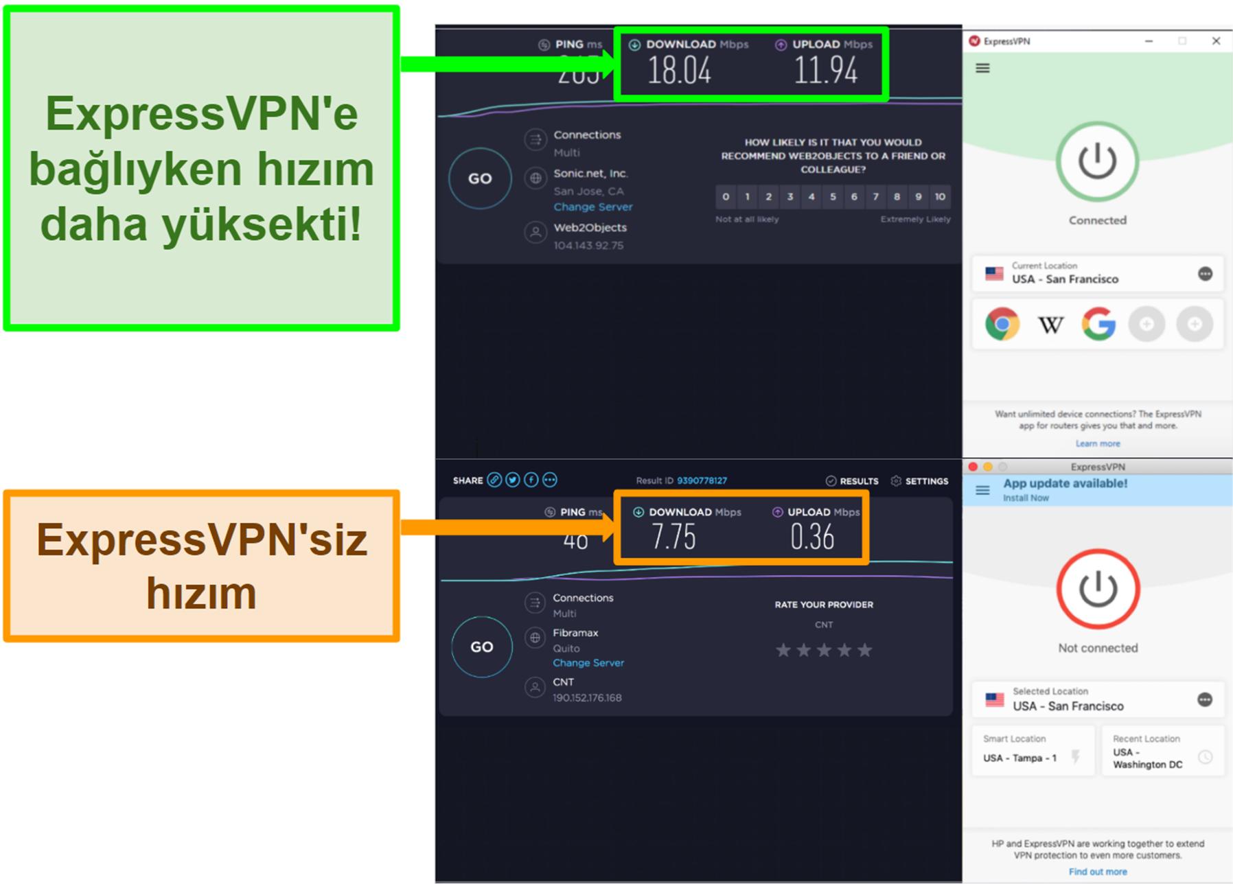 ExpressVPN bir ABD sunucusuna bağlandığında hızımı artırdı