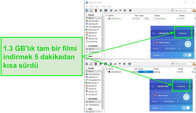 ekran görüntüsü Windscribe'ın indirme hızını gösterir