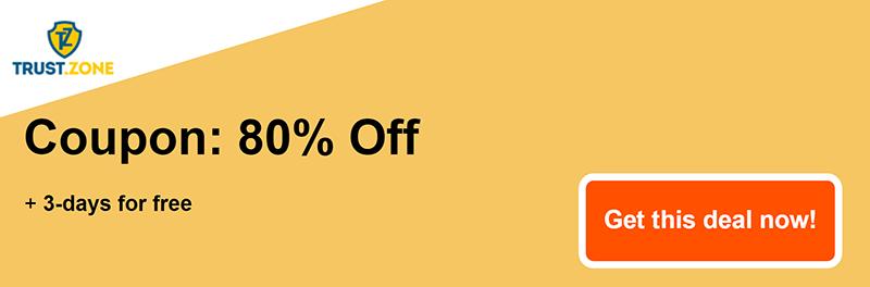 trust zone vpn coupon banner 80% off