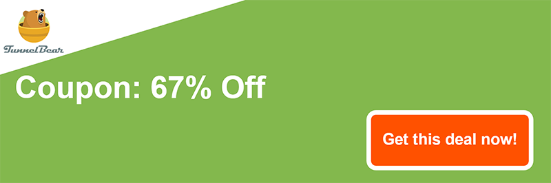 graphic of TunnelBear coupon banner showing 67% off