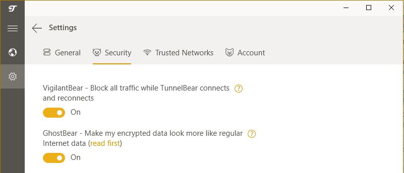TunnelBear security features