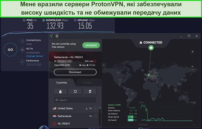 Знімок екрану тесту швидкості ProtonVPN.