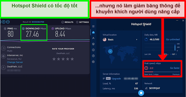HotspotShield giới hạn tốc độ để thúc đẩy người dùng đăng ký