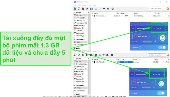 ảnh chụp màn hình cho thấy tốc độ tải xuống của Windscribe