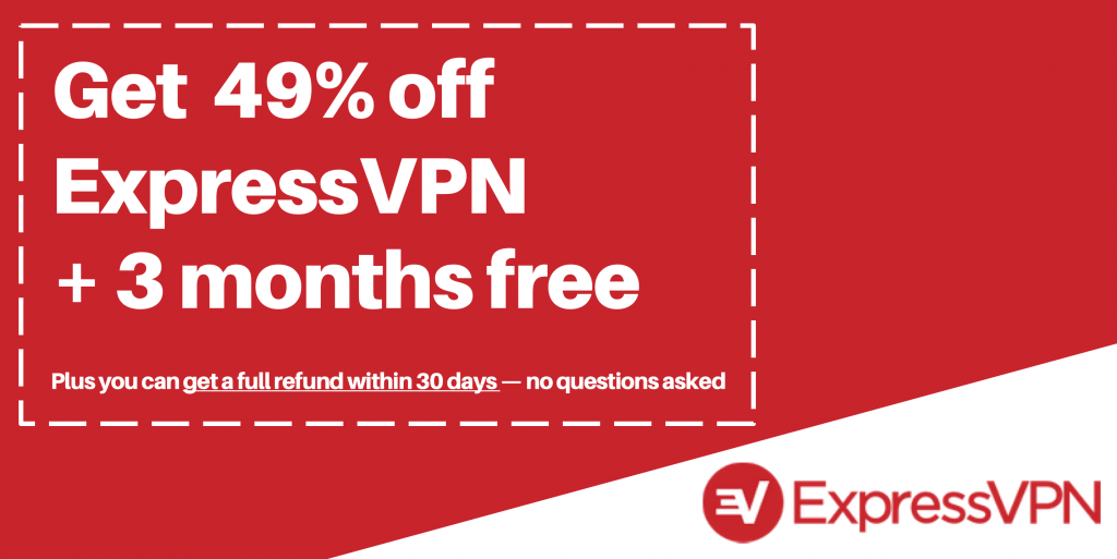 graphic of valid expressvpn coupon and deal for 49% off and 3 months free hires