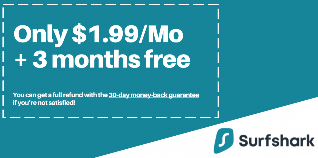 graphic of valid surfshark coupon with only 1.99 per month and 3 months free offer