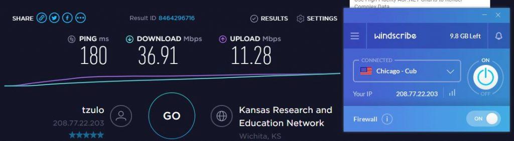 Windscribe US Speed Test