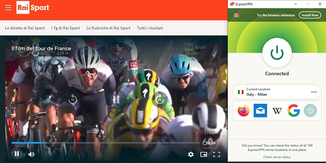 Screenshot of ExpressVPN connected to a server in Italy while cycling streams on RaiSport