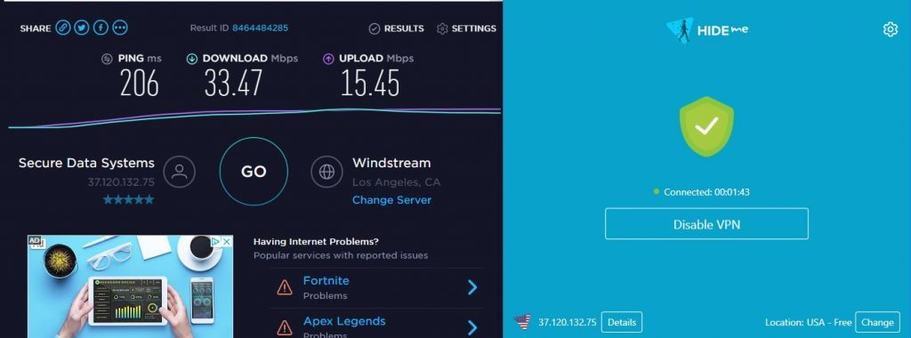 hide.me free vpn US speed test