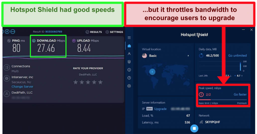hotspot shield throttles data