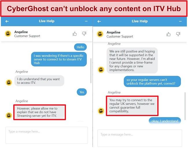 Screenshots of CyberGhost live chat