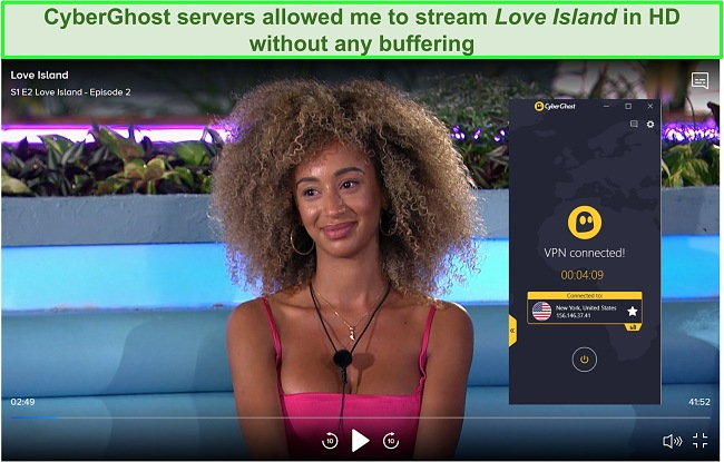 Screenshot of CyberGhost connection unblocking Love Island US on CBS