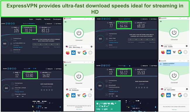 Screenshots of speed tests of 4 different ExpressVPN server connections