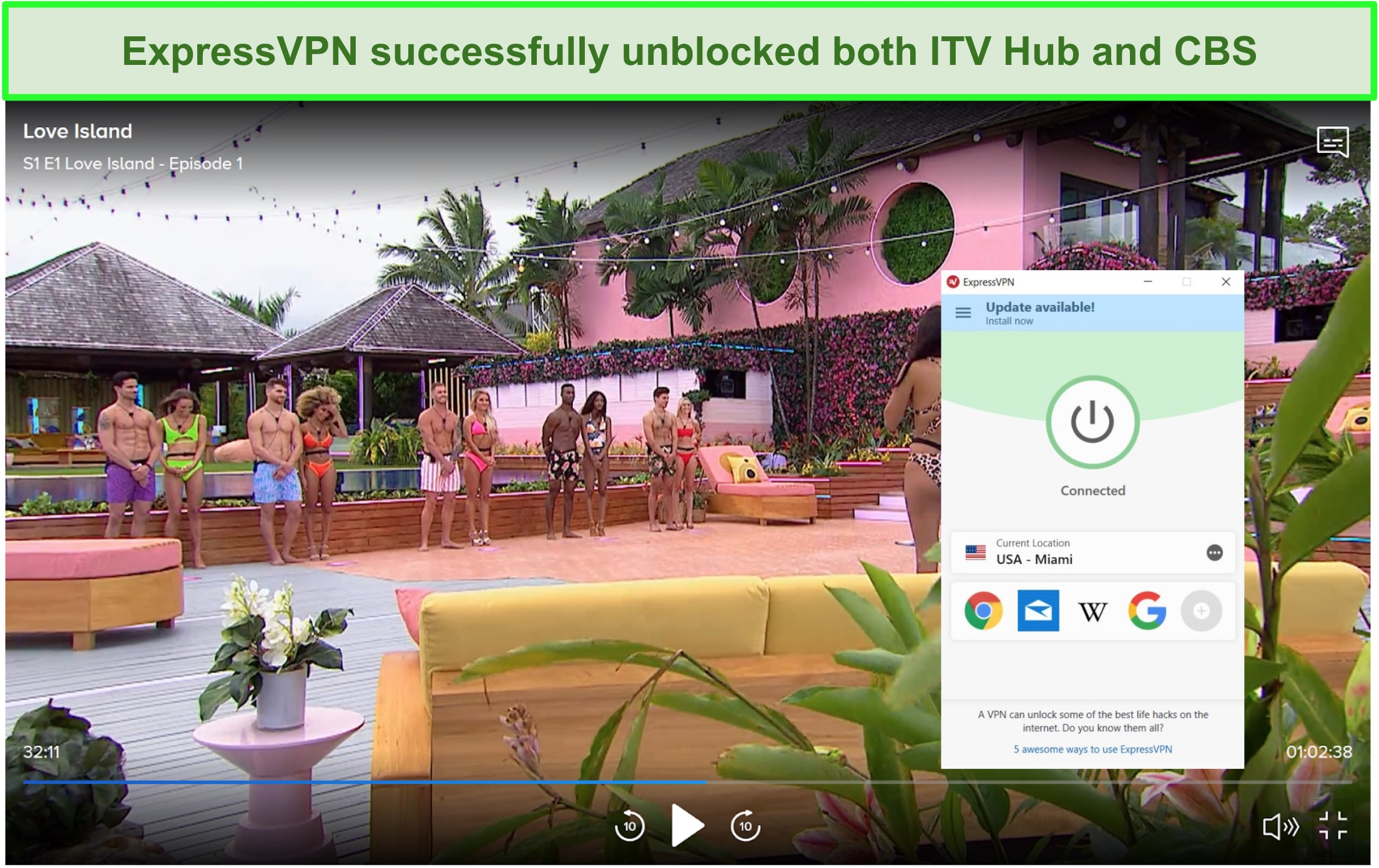 Screenshot of ExpressVPN successfully unblocking Love Island episode on CBS