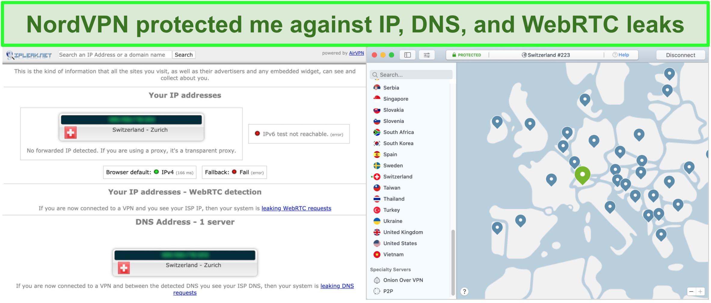 Screenshot showing NordVPN passed IP, DNS, and WebRTC leaks
