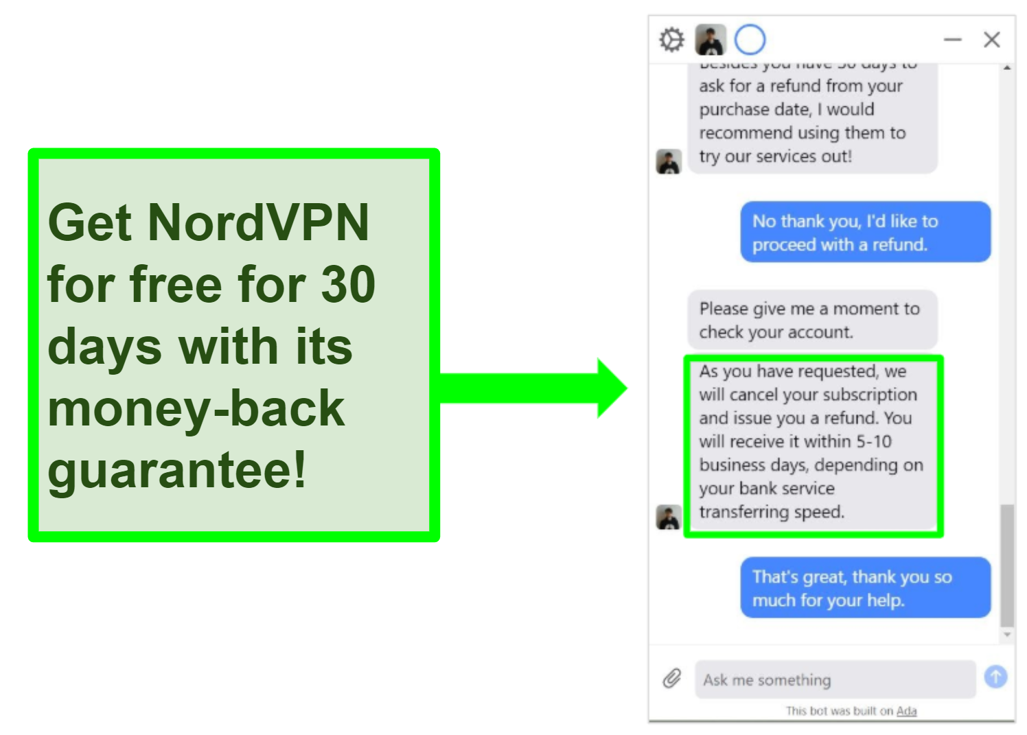 Screenshot of NordVPN customer service rep processing a refund