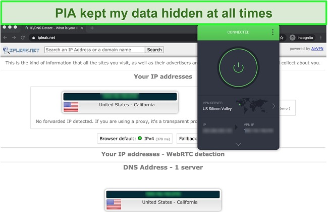 Screenshot showing PIA passed IP, DNS, and WebRTC leak tests