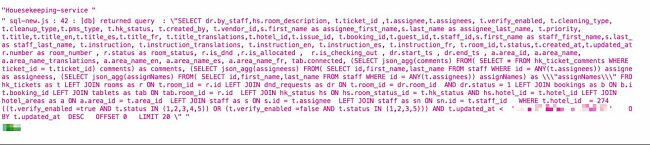 Screenshot of SQL query