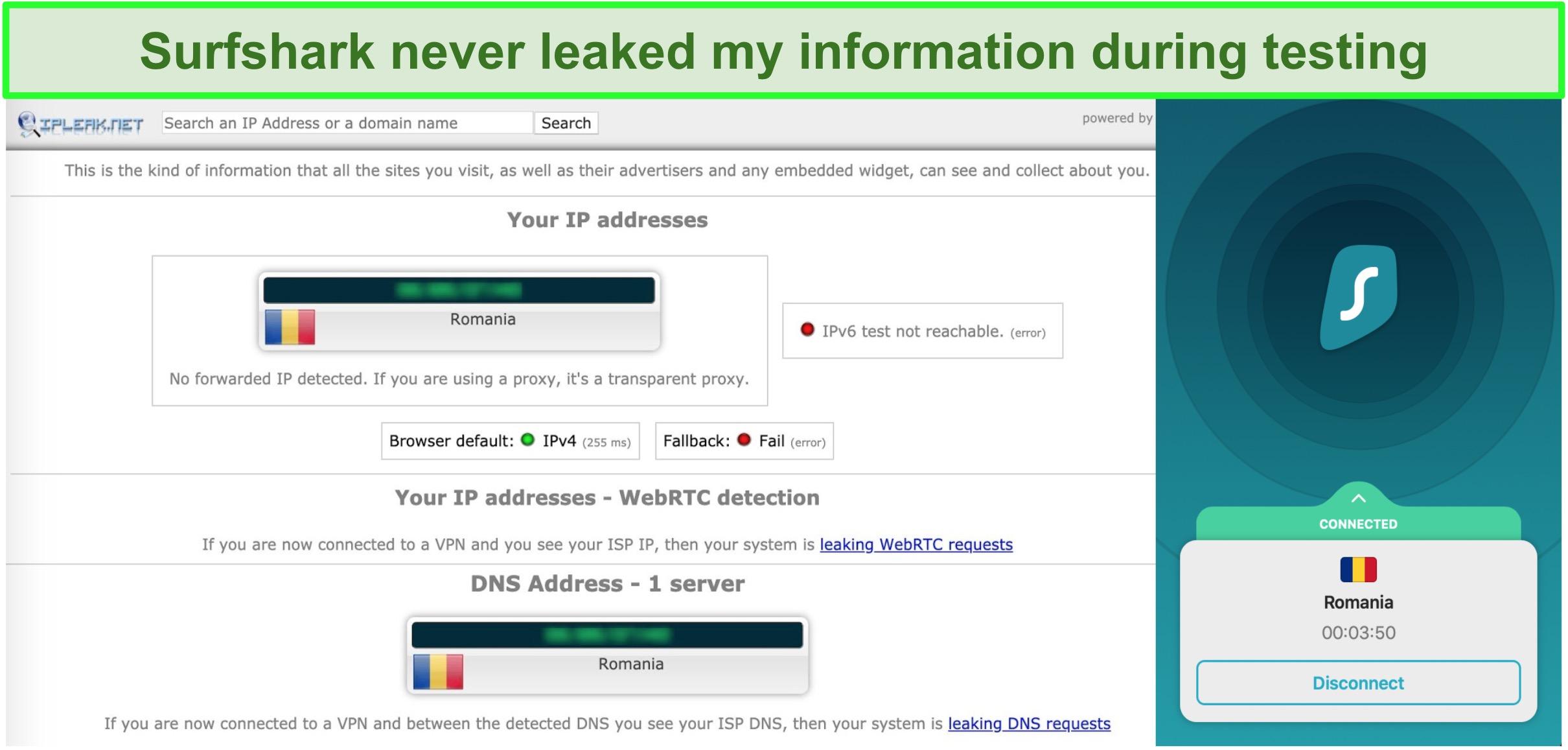 Screenshot showing Surfshark passed IP, DNS, and WebRTC leak tests