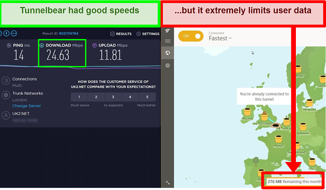 Screenshot of TunnelBear VPN speed test