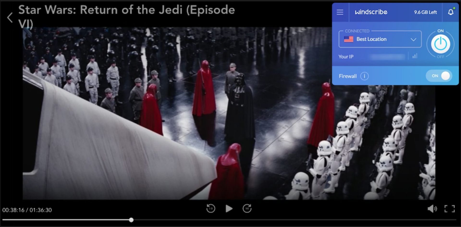 Screenshot of Windscribe unblocking Disney+ with Star Wars on the screen