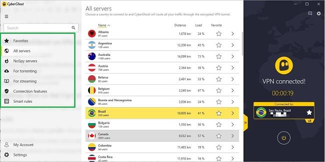 CyberGhost app - server optimization