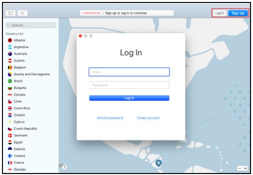 NordVPN Mac login page
