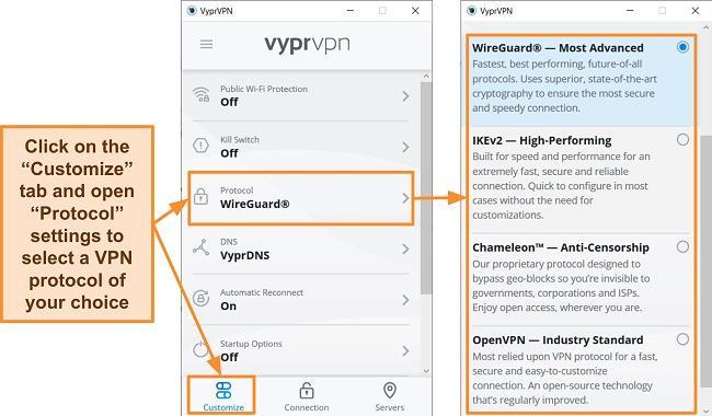Screenshot of VyprVPN's protocol options