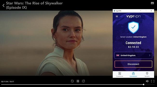 Screenshot of VyprVPN unblocking Disney+