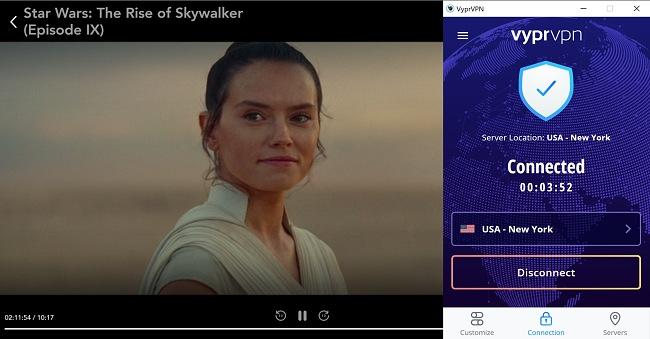 Screenshot of VyprVPN unblocking Disney+ while streaming Star Wars