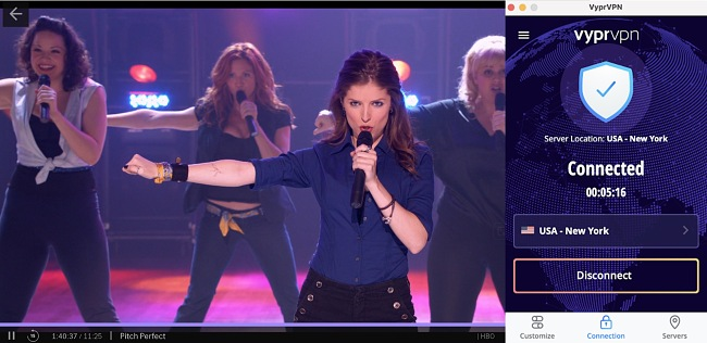 Screenshot of VyprVPN unblocking HBO Max while streaming Pitch Perfect