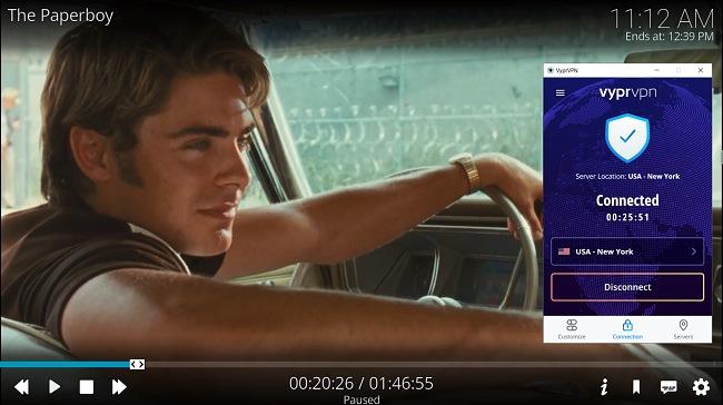 Screenshot of VyprVPN unblocking Popcornflix on Kodi