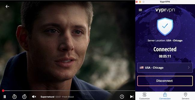 Screenshot of VyprVPN unblocking Netflix while streaming Supernatural