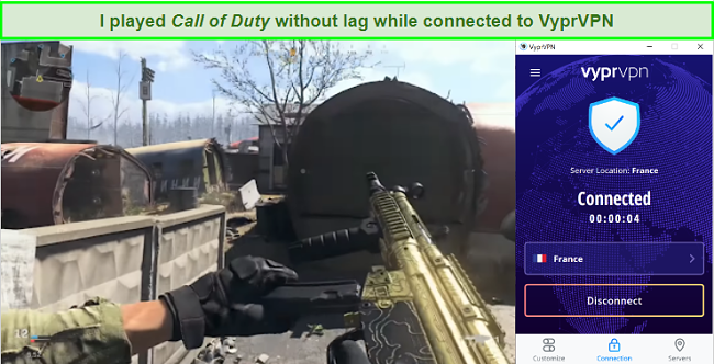 screenshot of playing Call of Duty while connected to a VyprVPN server in France