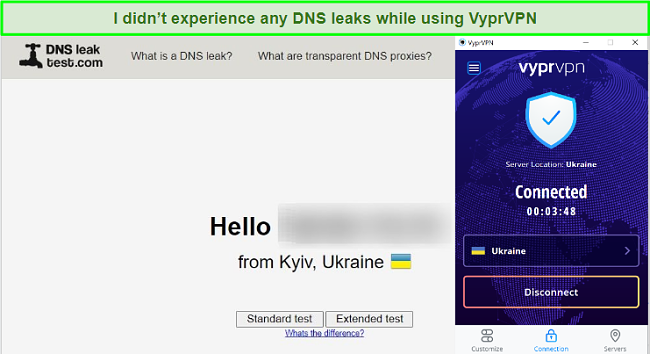 Screenshot of DNS leaktest.com showing results of a test while connected to a VyprVPN server in the Ukraine