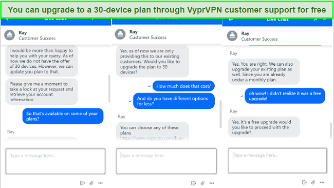 screenshot of chat with VyprVPN customer support about upgrading to 30 simultaneous device connections
