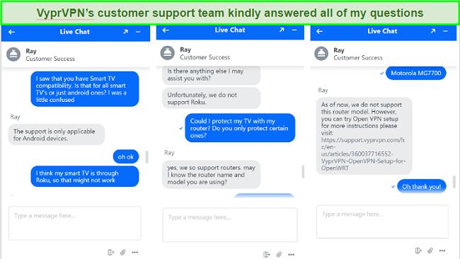 Screenshot of VyprVPN customer service chat about SmartTVs