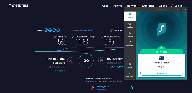 Surfshark Australia speed test