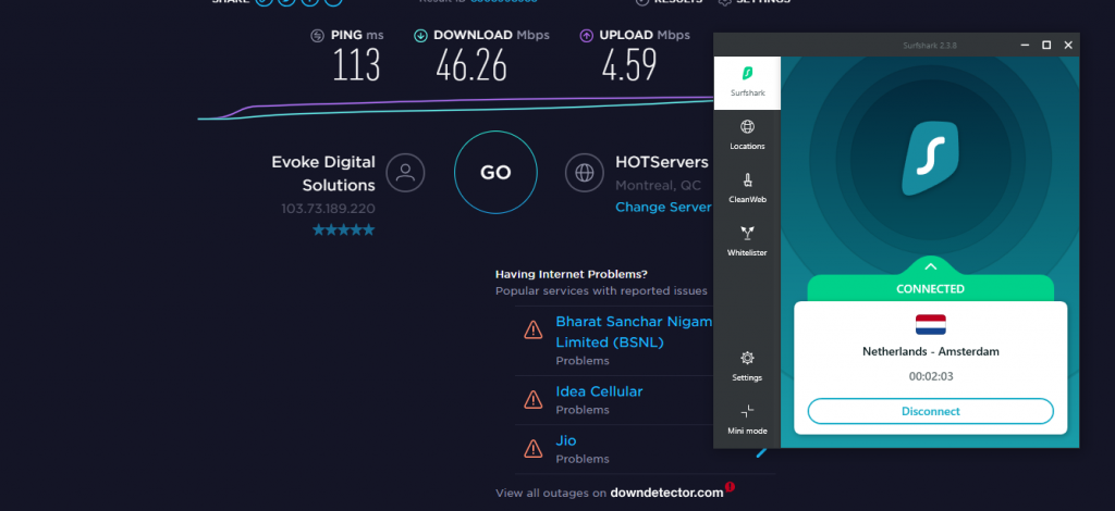 Surfshark Netherlands Speed Test