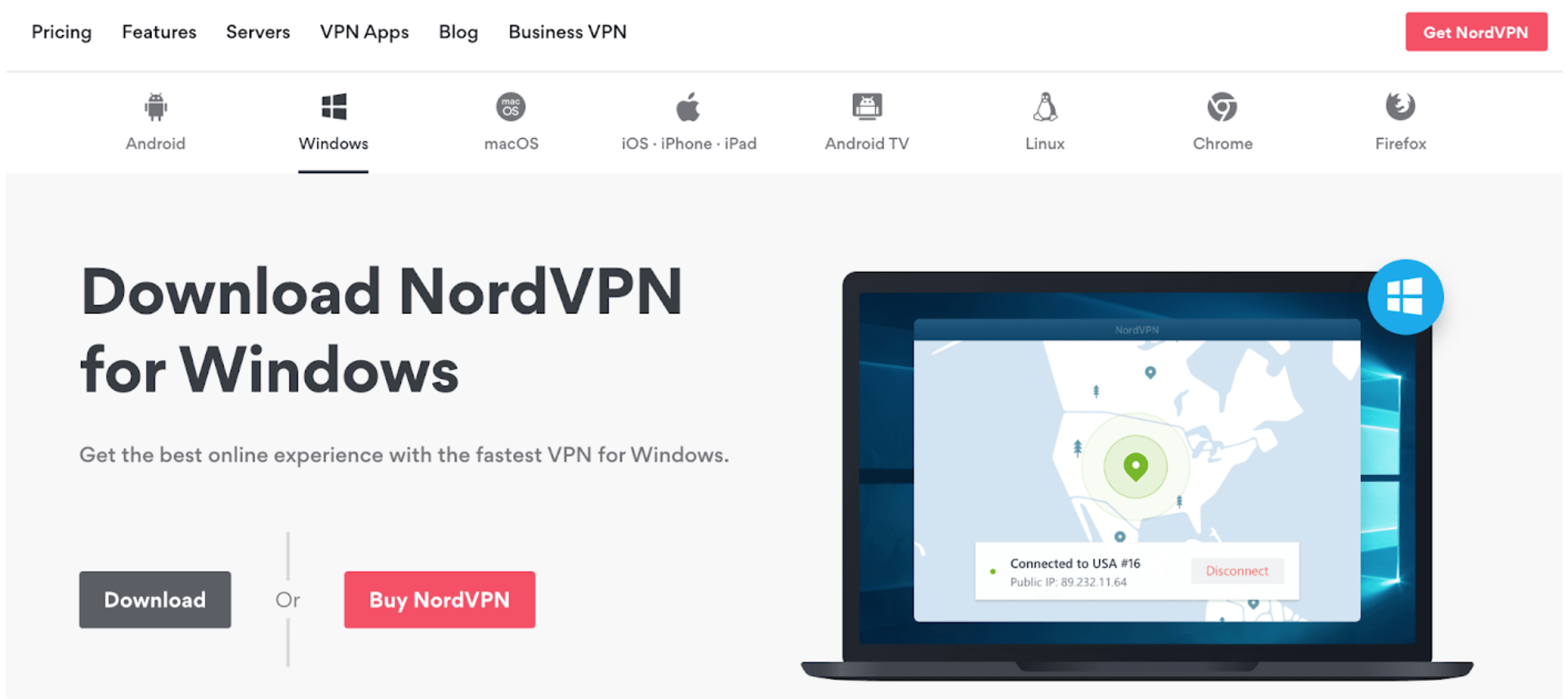 Screenshot of NordVPN's Windows download page