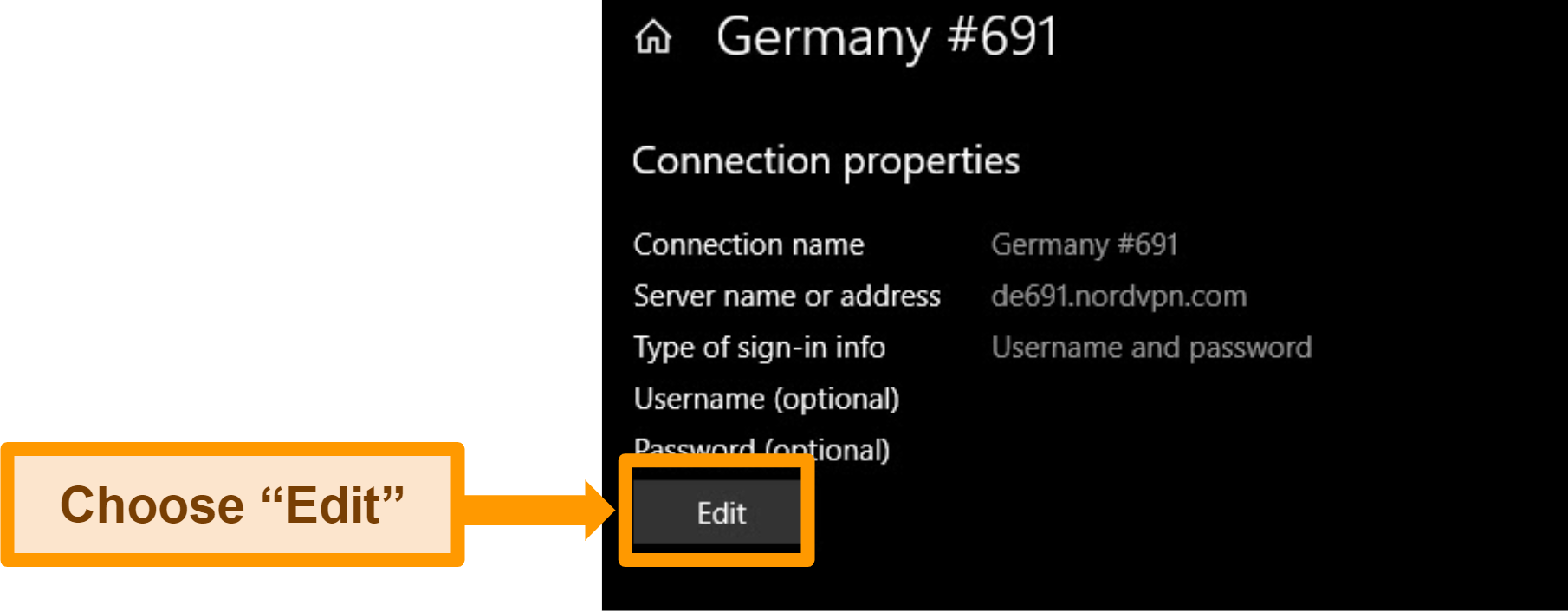 Screenshot of the settings overview of a manual VPN configuration in the Windows VPN menu