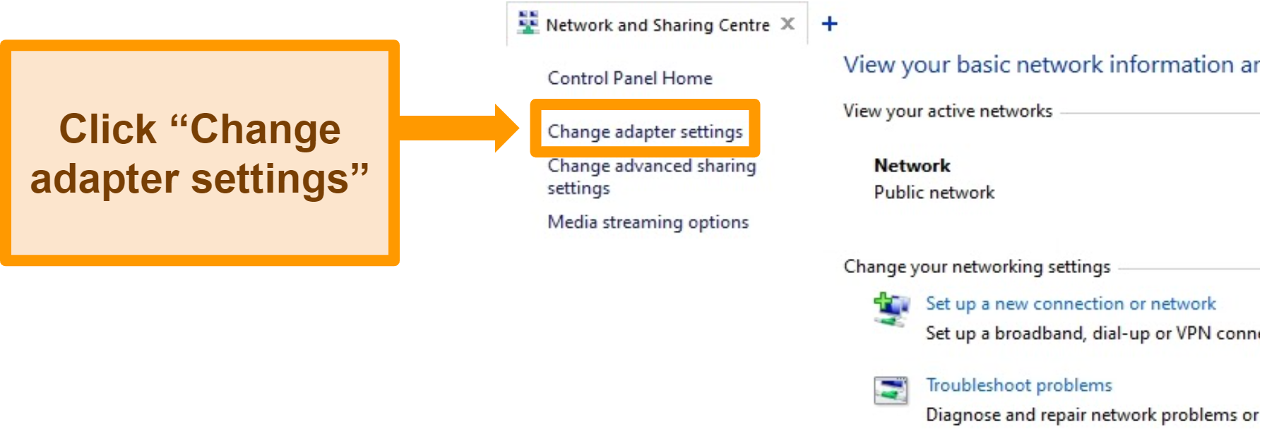Screenshot of NordVPN's Windows network and sharing center change adapter settings