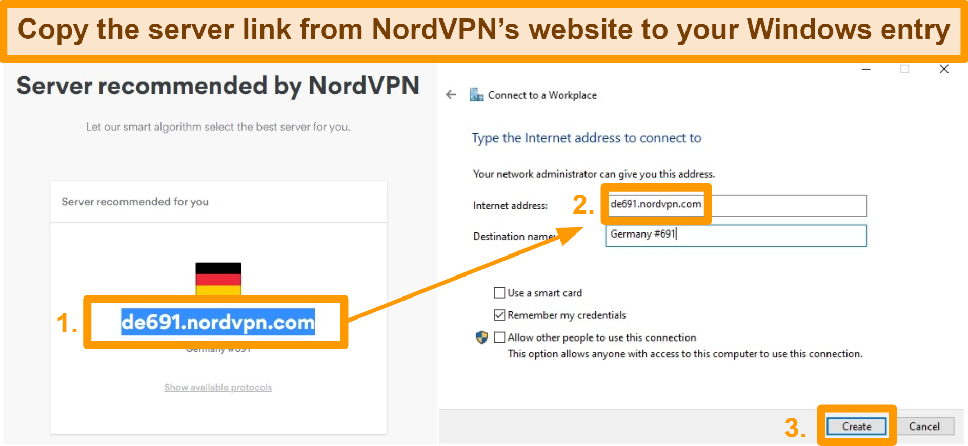 Screenshot of copying a suggested server URL from NordVPN's website into the Windows